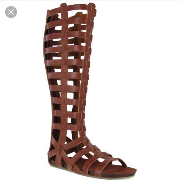 669053e0c33 New Cognac Glitterati Gladiator Knee High Sandals. NWT. Steve Madden